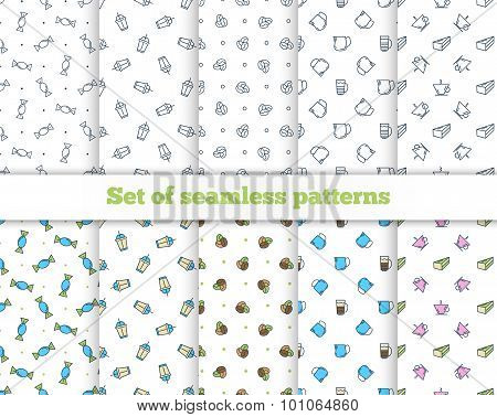 Set seamless patterns. Coffee, Turk, French press, cup, milk. Ve