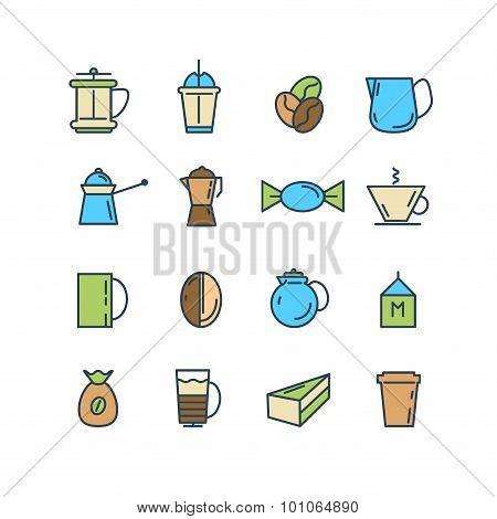 Color set of line icons. Coffee, Turk, French press, cup, milk.