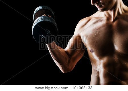 Muscular Fitness Man - Bodybuilder With Dumbbell