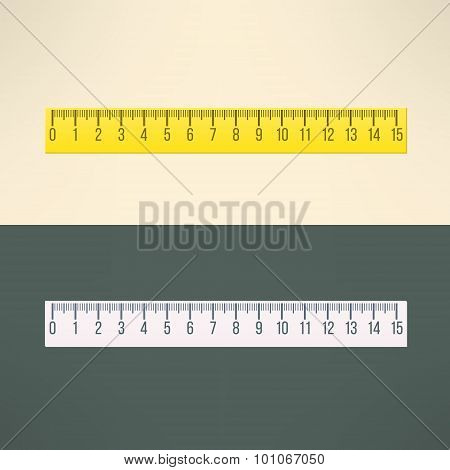 Vector realistic ruler tool. Education and office design element