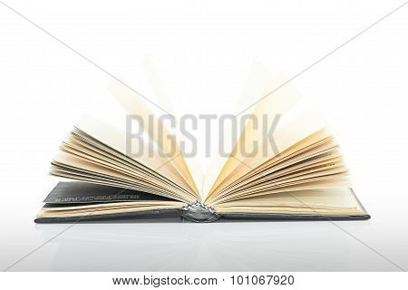 Open Black Book With Shadow On White Background