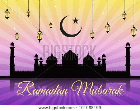 Ramadan mubarak - moon star lantern and masjid on violet vector background (Badshahi mosque)