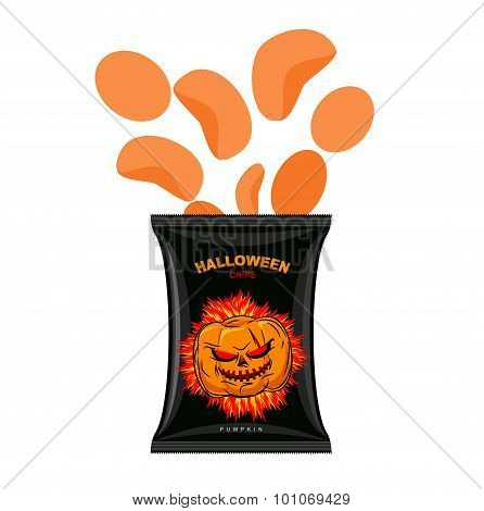 Halloween Chips With Pumpkin Flavor. Snacks For Dreaded Holiday In Black Packaging. Vector Illustrat