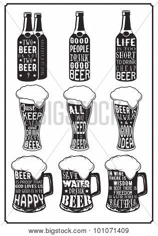 Set Of Different Beer Posters With Aphorisms In Retro Vintage Style