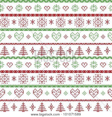 Red and green on the white background Nordic Christmas pattern with snowflakes and forest xmas trees