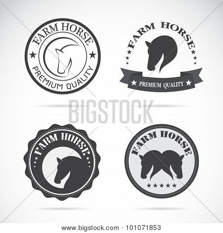 Set Of Vector Horses Labels On White Background, Banners, Logo