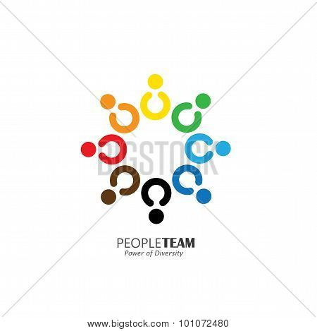 Circle Of Friendship, Cooperation, Teamwork Concept Vector Icon