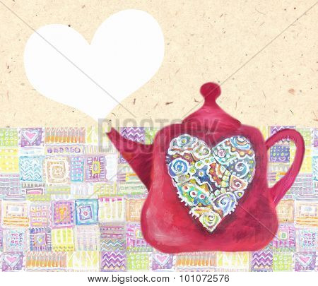 Kitchen Love. Cute Teapot With Abstrackt Multicolored Heart.