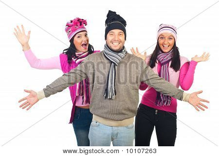 Cheerful Group Of Friends In Knitted Clothes