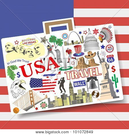 Usa Travel Concept. Set Vector Icons And Symbols In Form Of Suitcase