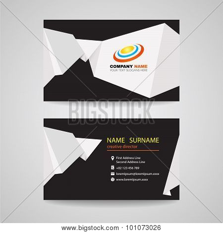 Business card vector design - White sharp origami paper on black background