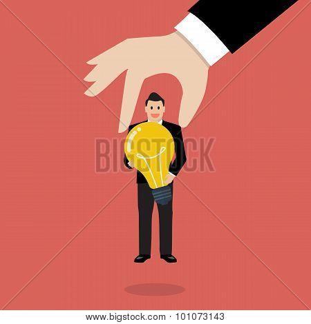 Businessman Choosing Worker Who Has Idea