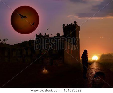 A quiet evening at an ancient castle.