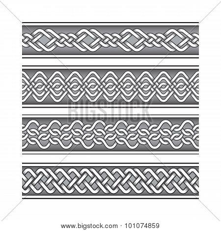 Bracelet tattoo set in celtic knotting pattern style