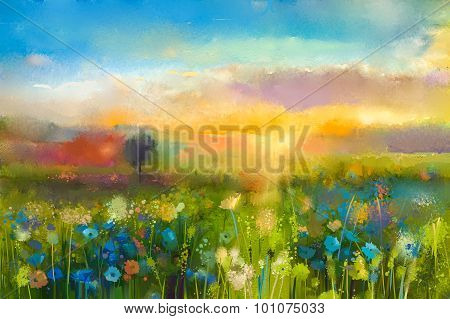 Oil Painting Sunset meadow landscape with wildflower