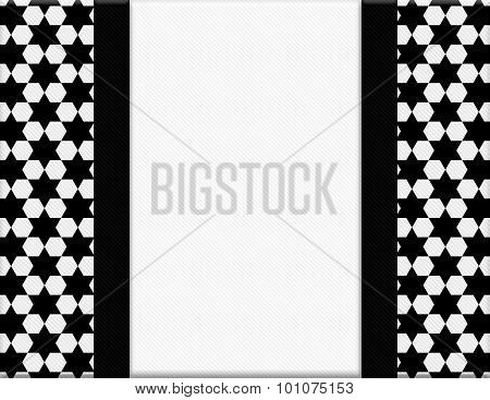 Black And White Hexagon Frame With Ribbon Background