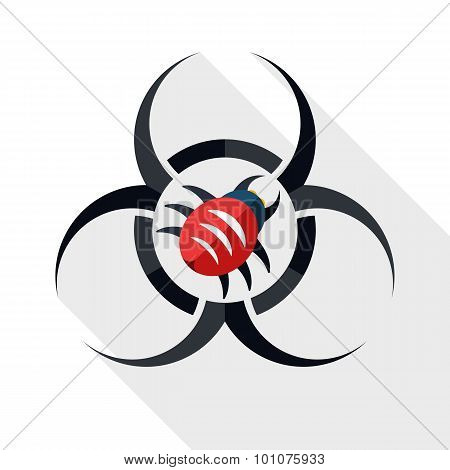 Biohazard Virus Icon With Long Shadow On White Background