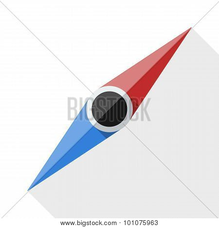 Compass Needle Icon With Long Shadow On White Background