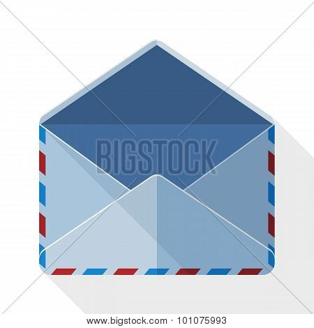 Envelope Mail Icon With Long Shadow On White Background
