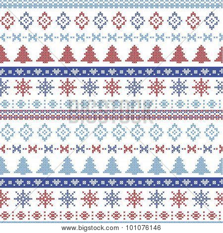 Dark and light blue and red Christmas Nordic pattern with snowflakes, trees ,  xmas trees and decora