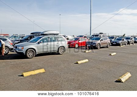 Line Of Cars On The Ferry