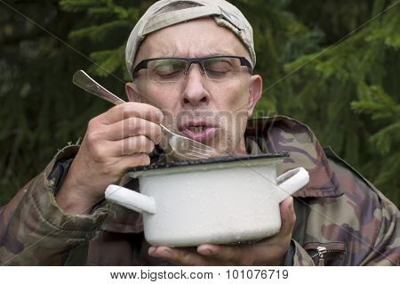 Hungry Man In Camouflage
