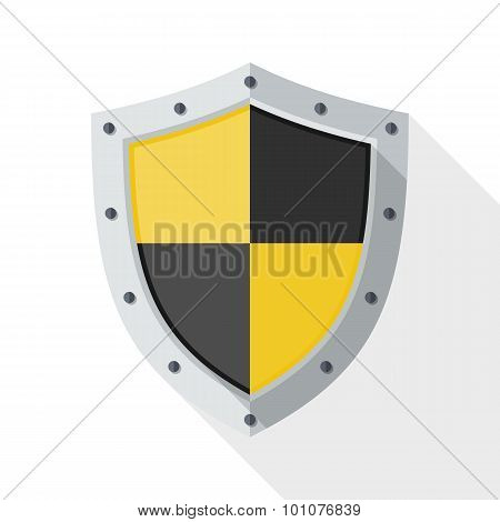 Protection Icon With Long Shadow On White Background