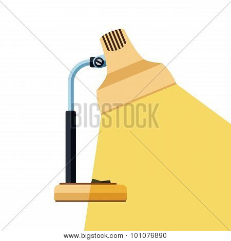 The Icon Of Table Lamp With Beam Of Light On White Background