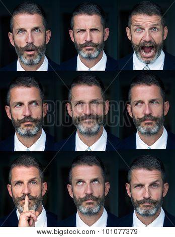 Portrait Of Man Multiple Face Expressions Composite