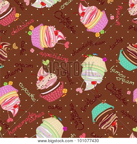 Compound Chocolate Background From Delicious Cakes And Cupcakes.