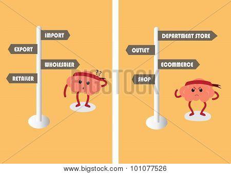 Brain Cartoon Choose Business Style