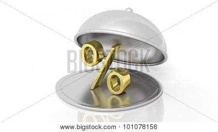 Silver restaurant cloche with gold percentage symbol, isolated on white background.