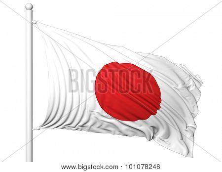 Waving flag of Japan on flagpole, isolated on white background.