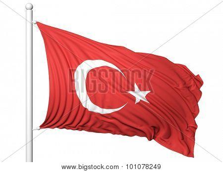 Waving flag of Turkey on flagpole, isolated on white background.