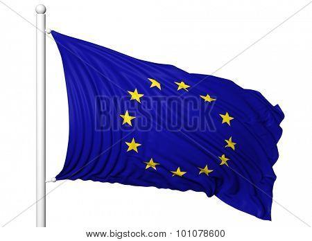 Waving flag of European Union on flagpole, isolated on white background.