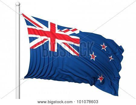 Waving flag of New Zealand on flagpole, isolated on white background.