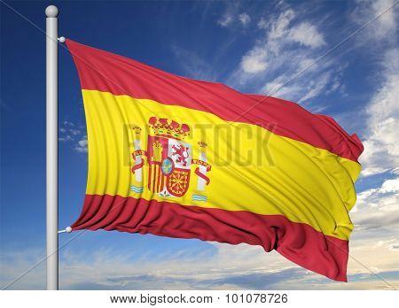 Waving flag of Spain on flagpole, on blue sky background.