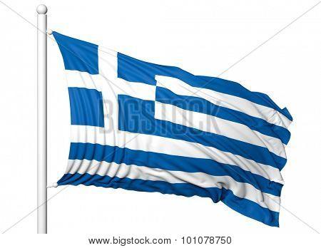 Waving flag of Greece on flagpole, isolated on white background.