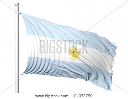 Waving flag of Argentina on flagpole, isolated on white background.