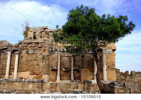 Ancient Historic Ruin In Side Turkey