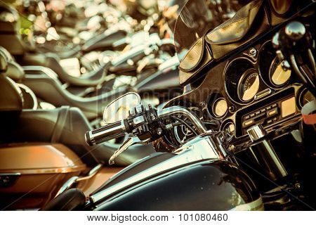 PRAGUE- SEPTEMBER 04: Harley Davidson motorcycle for exhibition during the Prague Harley days 2015. Prague, Czech republic, september 04, 2015.