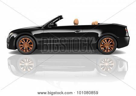 Car Convertible Transportation 3D Illustration Concept