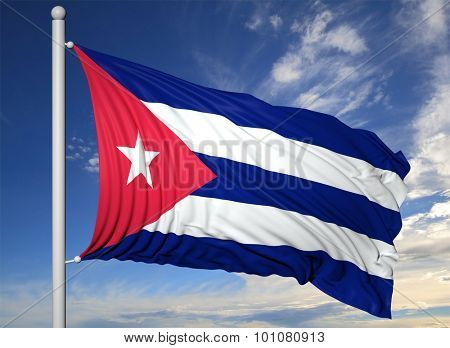 Waving flag of Cuba on flagpole, on blue sky background.