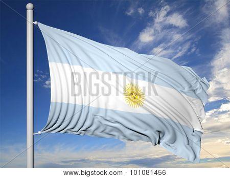 Waving flag of Argentina on flagpole, on blue sky background.