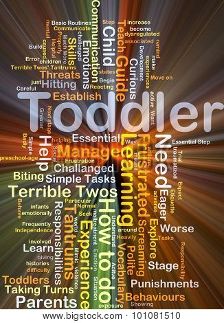 Background concept wordcloud illustration of toddler glowing light