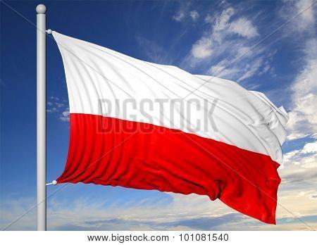 Waving flag of Poland on flagpole, on blue sky background.