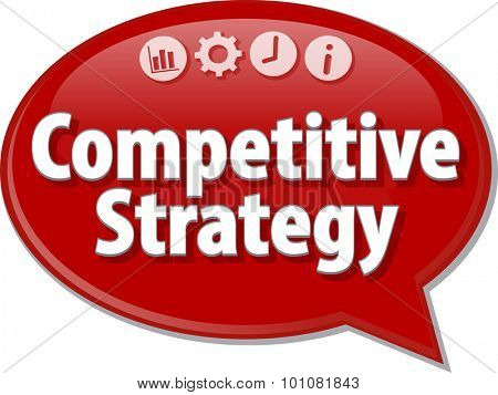 Speech bubble dialog illustration of business term saying Competitive Strategy