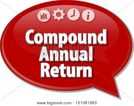 Speech bubble dialog illustration of business term saying Compound Annual Return