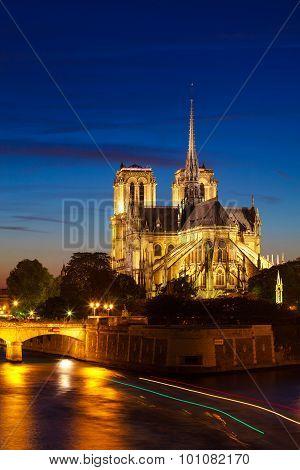 Notre Dame De Paris Cathedral At Night, Paris, France