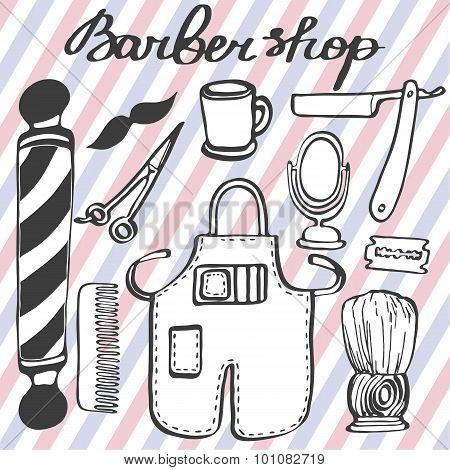 Barbershop set. Hand-drawn cartoon hairdressing stuff. Doodle drawing.
